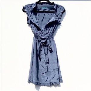Boutique Tie Waist Babydoll Satin Dress
